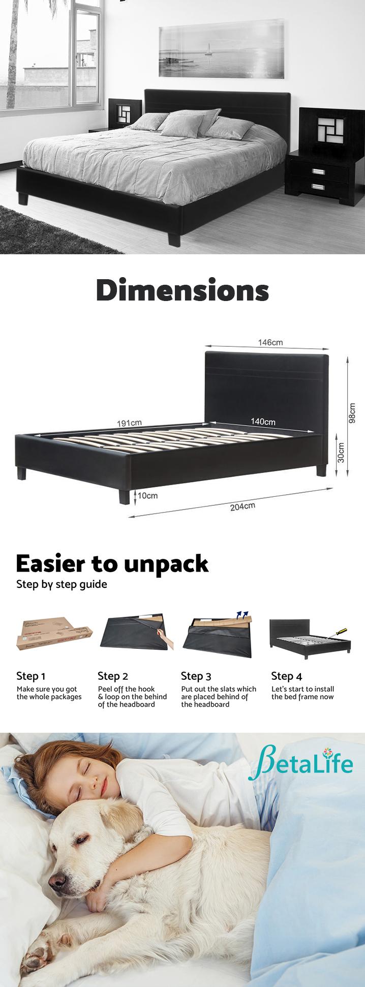 DOUBLE Slat PU Bed with Headboard