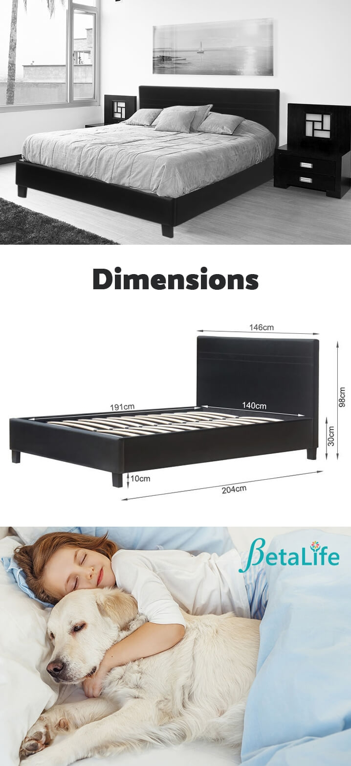 DOUBLE Slat PU Bed with Headboard