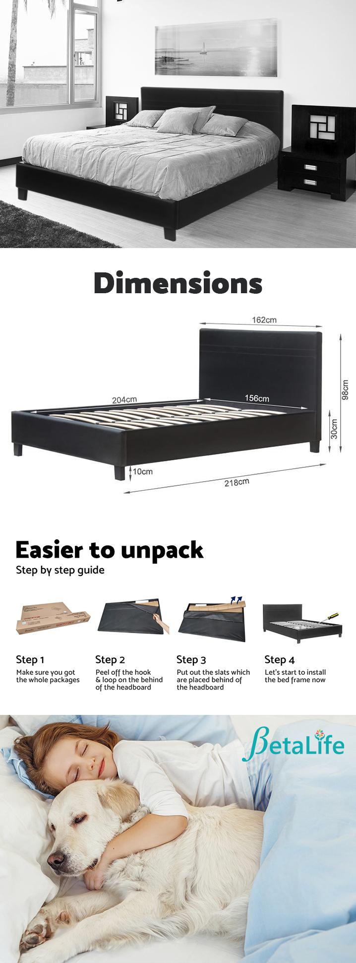 QUEEN Slat Bed with Headboard Black