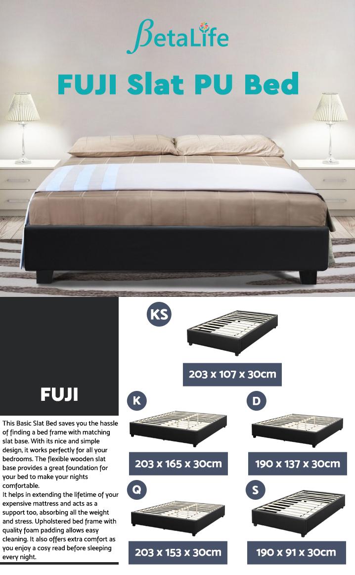 FUJI King Single Slat PU Bed