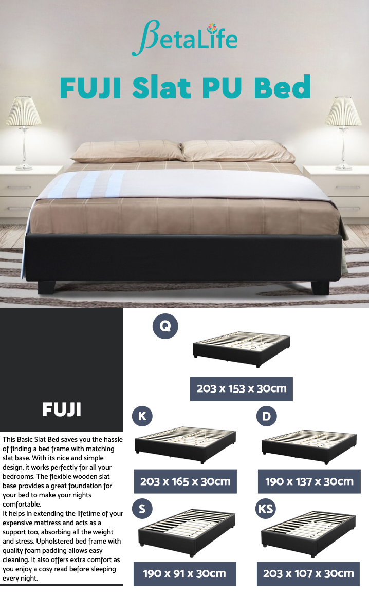 FUJI Queen Slat PU Bed