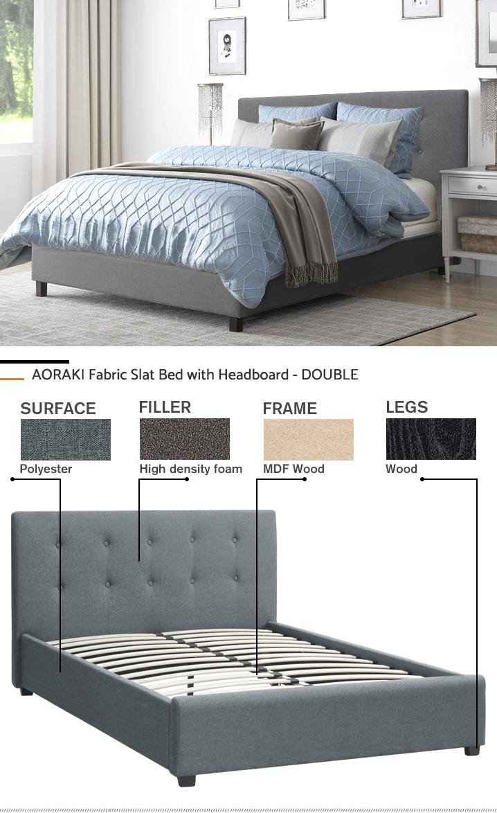 AORAKI Fabric Slat Bed with Headboard - DOUBLE BED