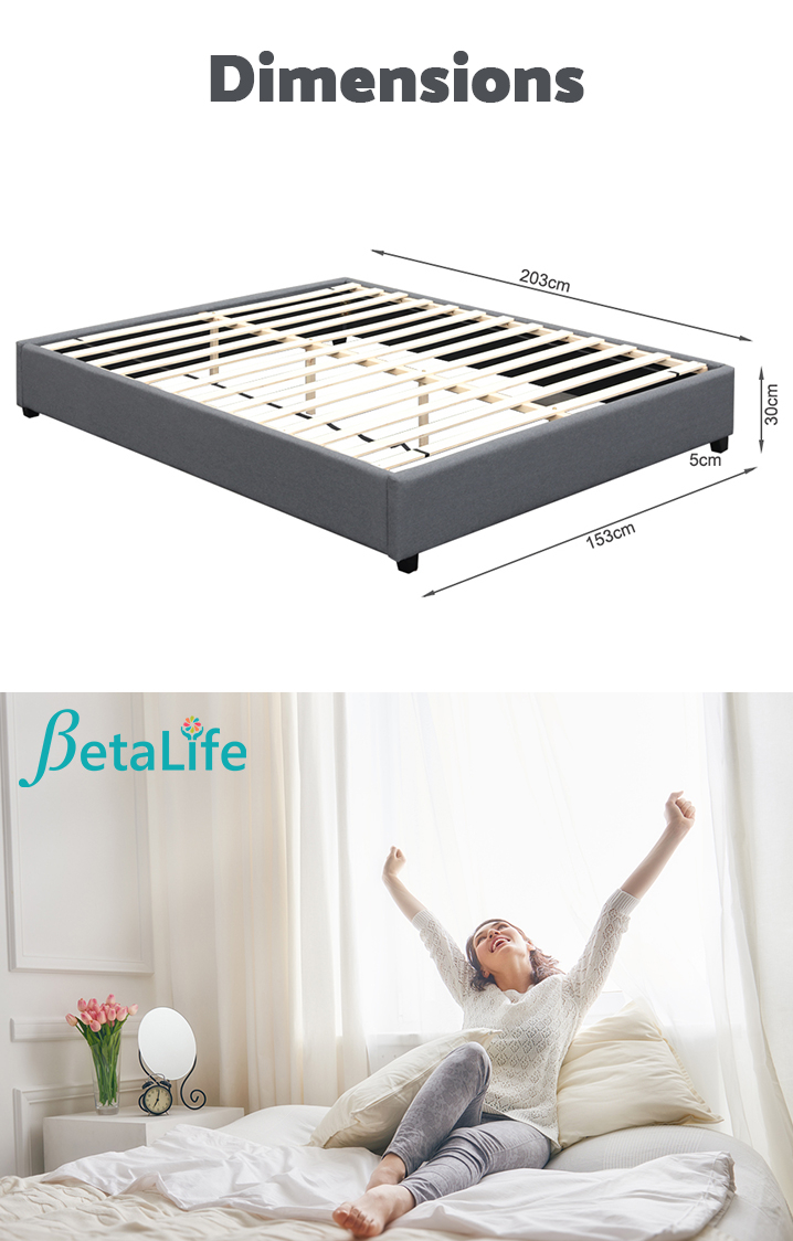 BROMO Fabric Slat Bed Frame - QUEEN Bed Base