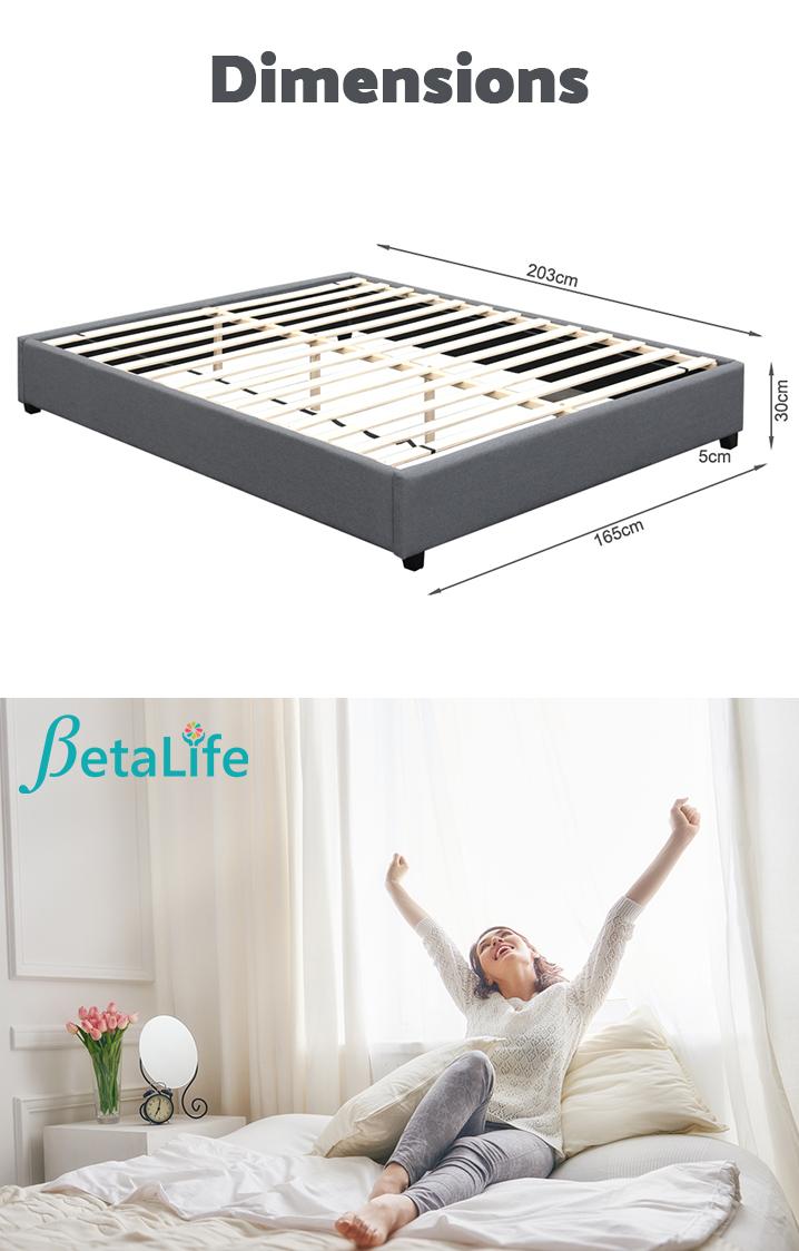 BROMO Fabric Slat Bed Frame - KING Bed Base