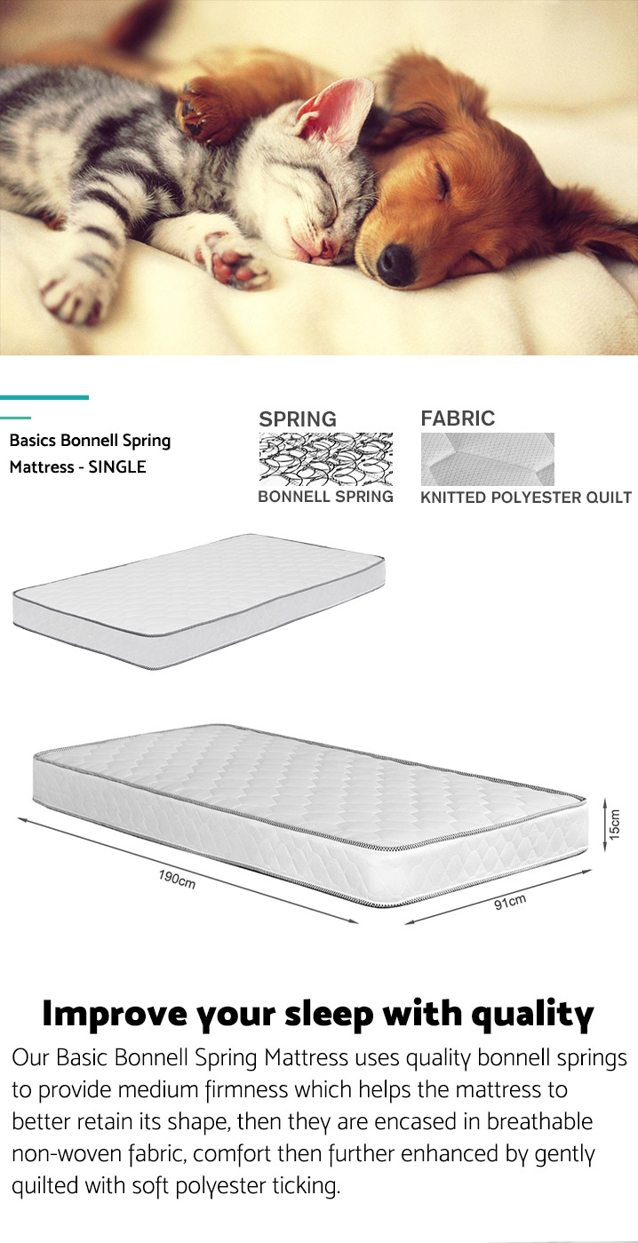 Basics Bonnell Spring Mattress - SINGLE