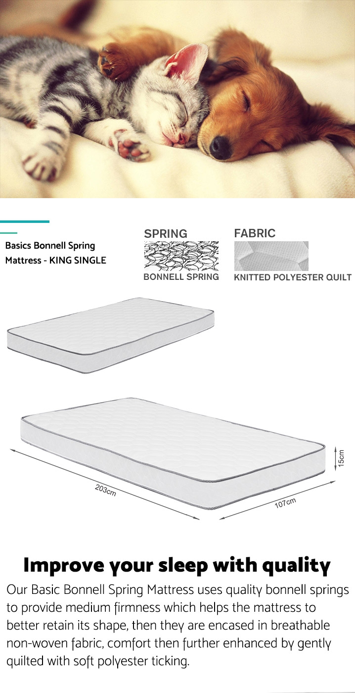 Basics Bonnell Spring Mattress - KING SINGLE