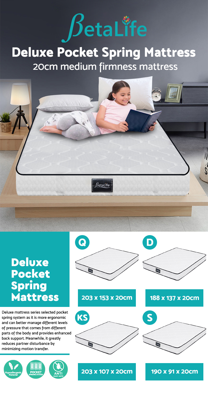 BetaLife Deluxe Pocket Spring Mattress - QUEEN