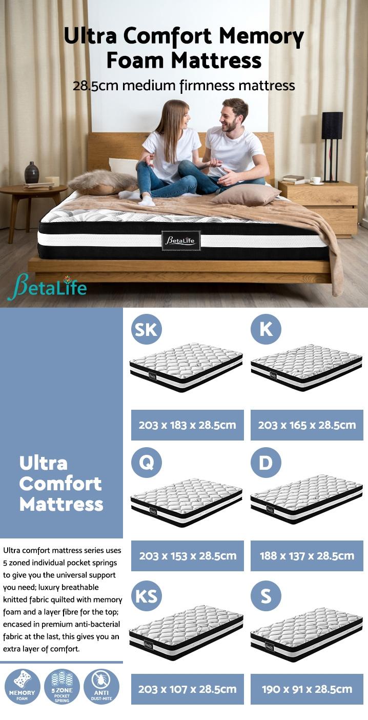 BetaLife Ultra Comfort Memory Foam Mattress - Single