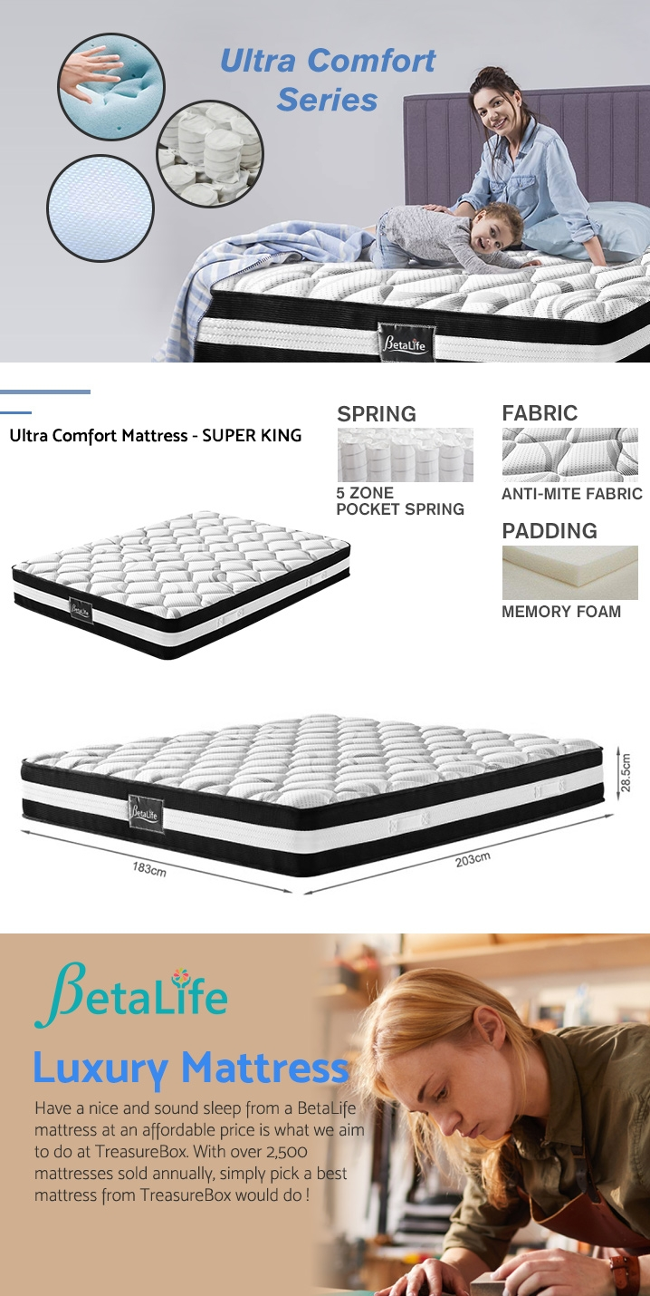 Betalife Ultra Comfort Memory Foam Mattress - SUPER KING