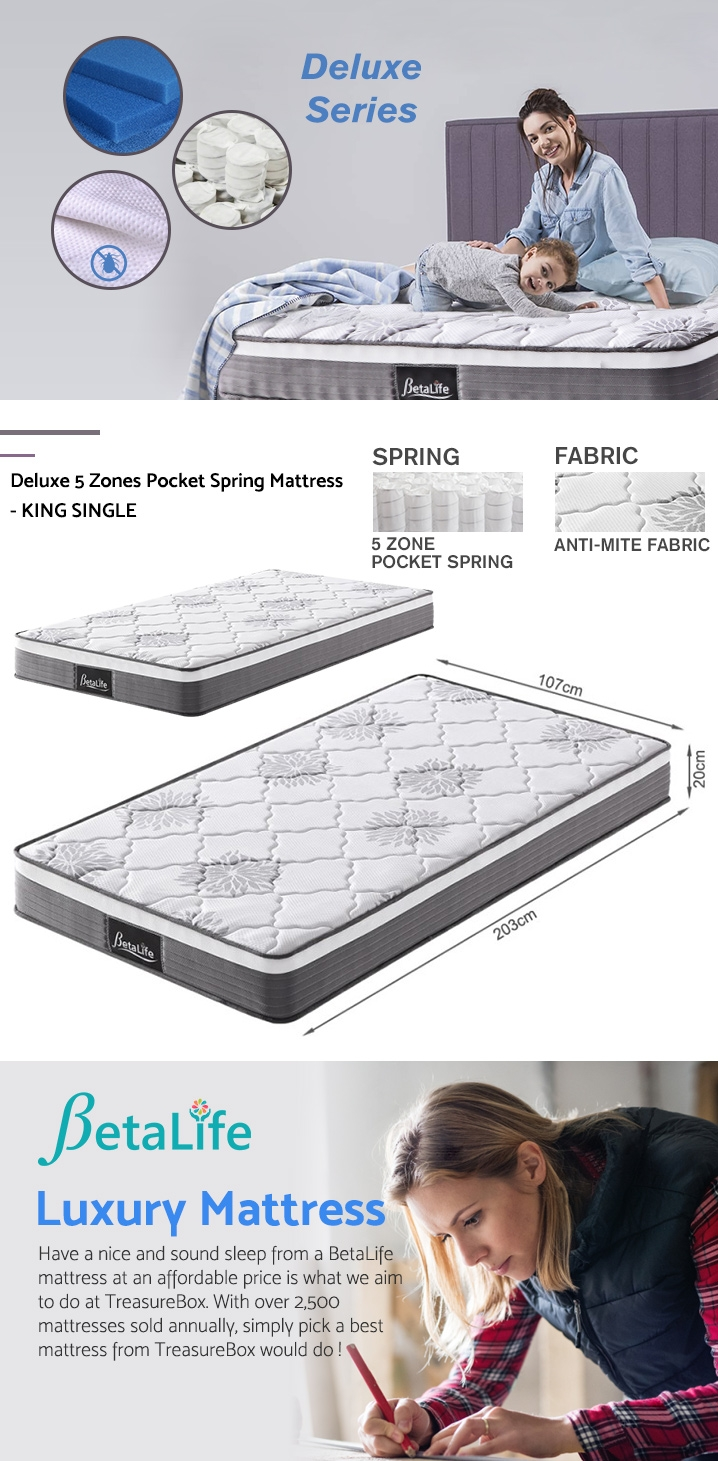 BetaLife Deluxe 5 Zones Pocket Spring Mattress - KING SINGLE