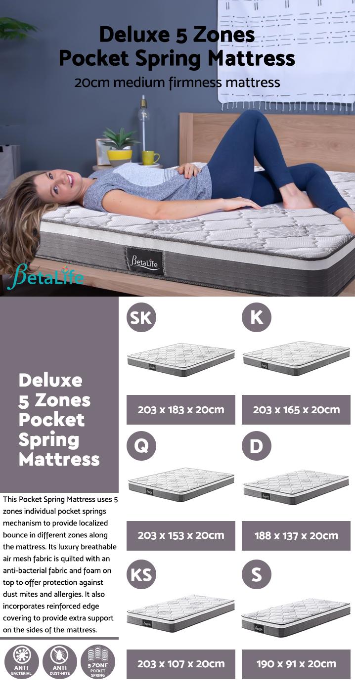 BetaLife Deluxe 5 Zones Pocket Spring Mattress - DOUBLE