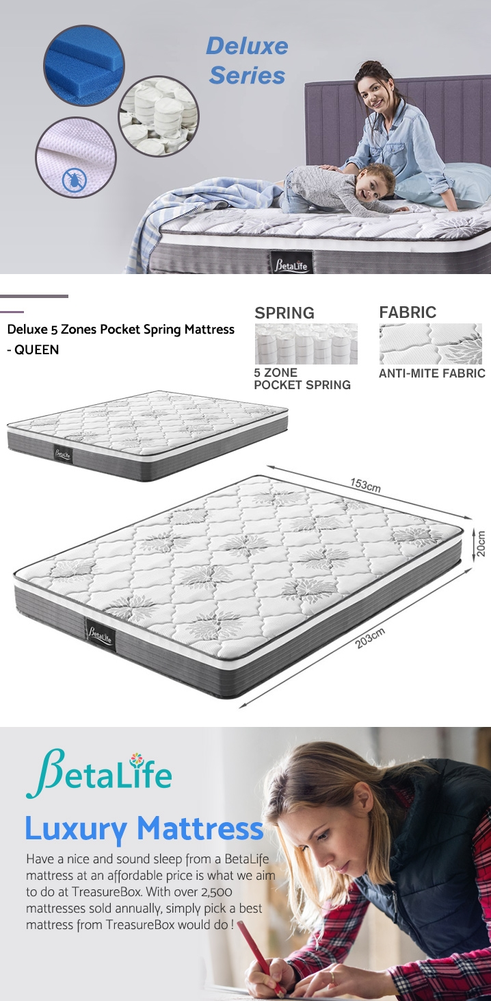 BetaLife Deluxe 5 Zones Pocket Spring Mattress - QUEEN