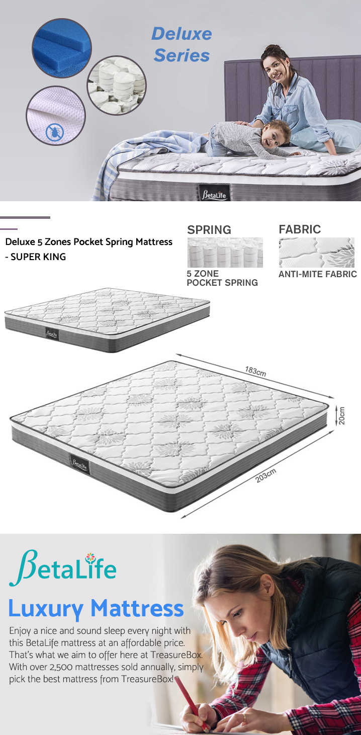 BetaLife Deluxe 5 Zones Pocket Spring Mattress - SUPER KING