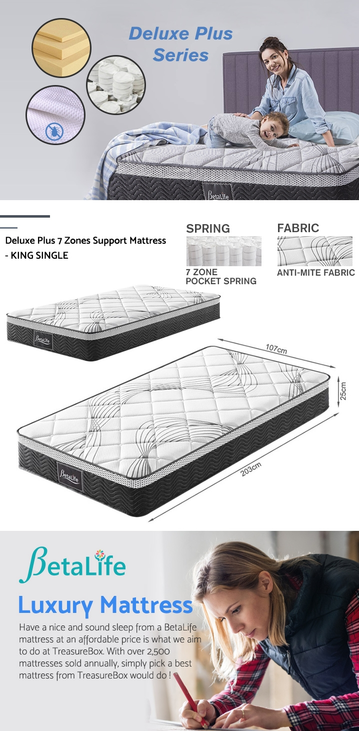 BetaLife Deluxe Plus 7 Zones Support Mattress - KING SINGLE