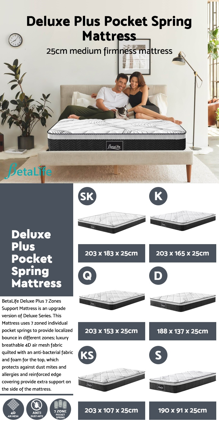BetaLife Deluxe Plus 7 Zones Support Mattress - QUEEN