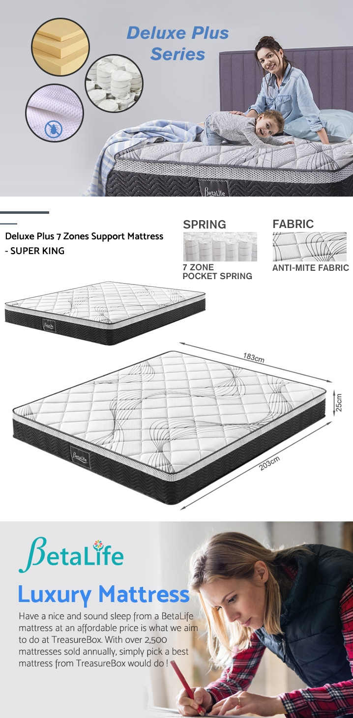 BetaLife Deluxe Plus 7 Zones Support Mattress - SUPER KING