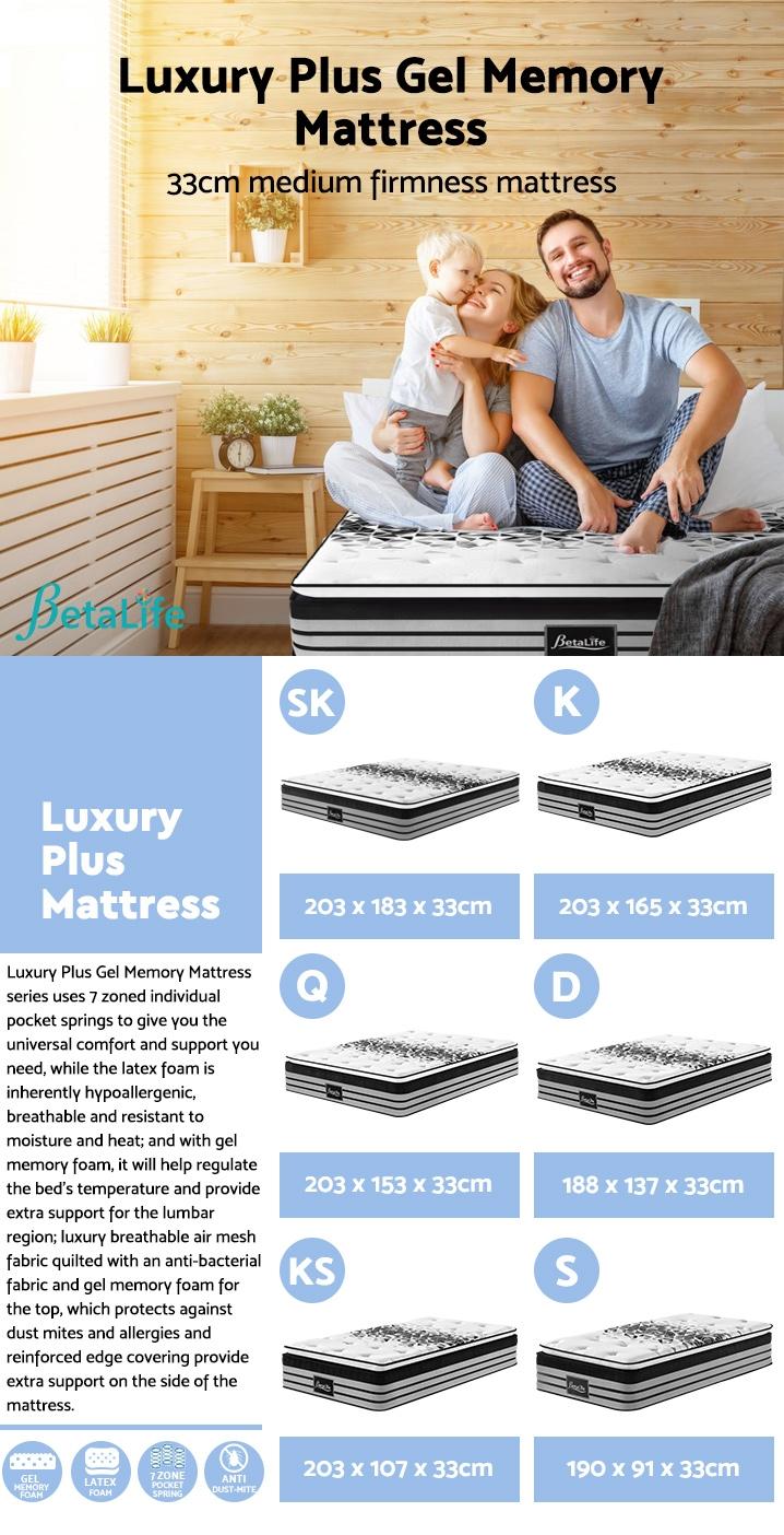 BetaLife Luxury Plus Gel Memory Mattress - KING SINGLE