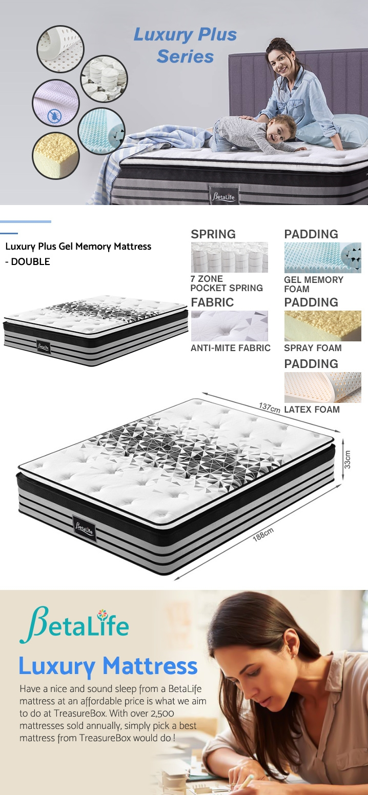 BetaLife Luxury Plus Gel Memory Mattress - DOUBLE