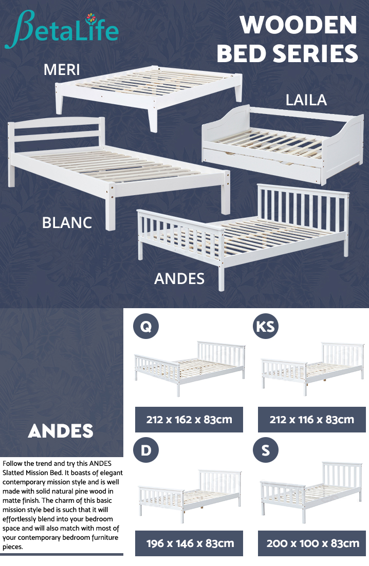 ANDES Wooden Mission Bed - SINGLE