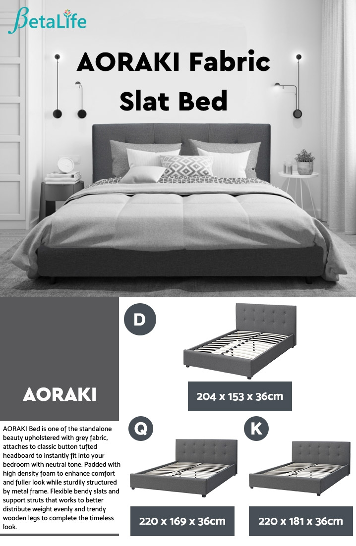 AORAKI Fabric Slat Bed with Headboard - DOUBLE BED