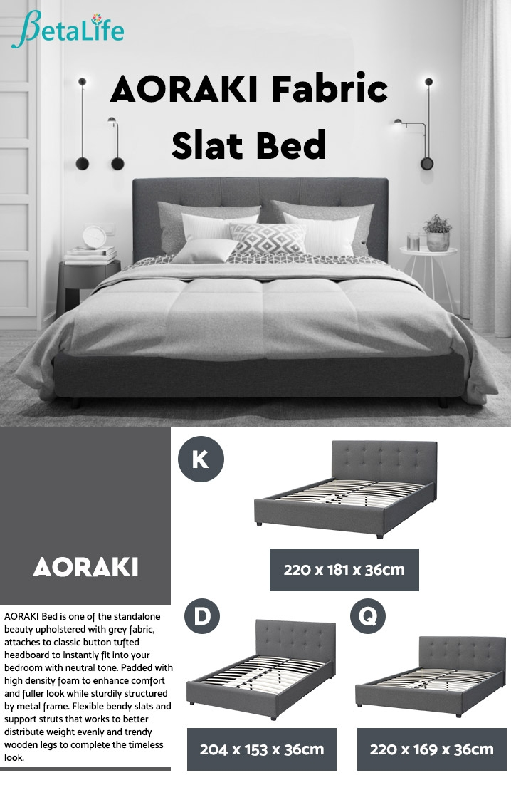 AORAKI Fabric Slat Bed with Headboard - KING BED