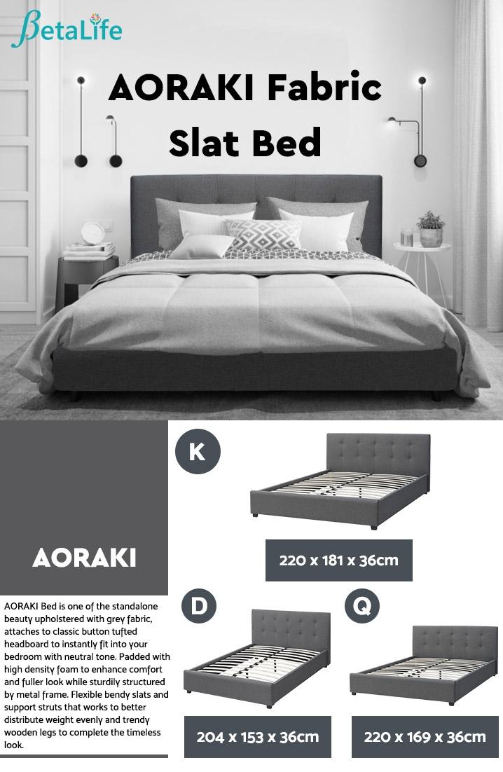 AORAKI Fabric Slat Bed with Headboard - KING BED