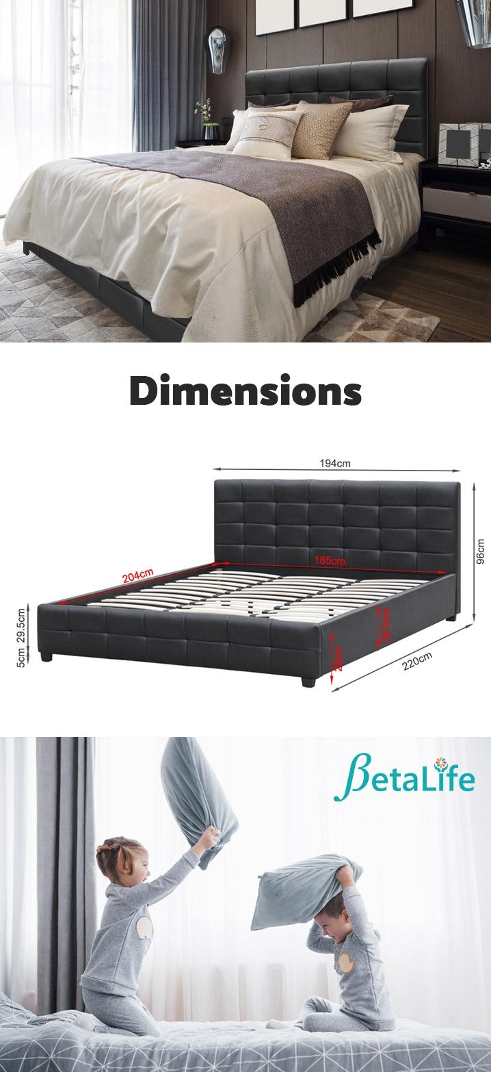 AUGUSTA PU Bed Slat Bed Frame Bed Base - SUPER KING