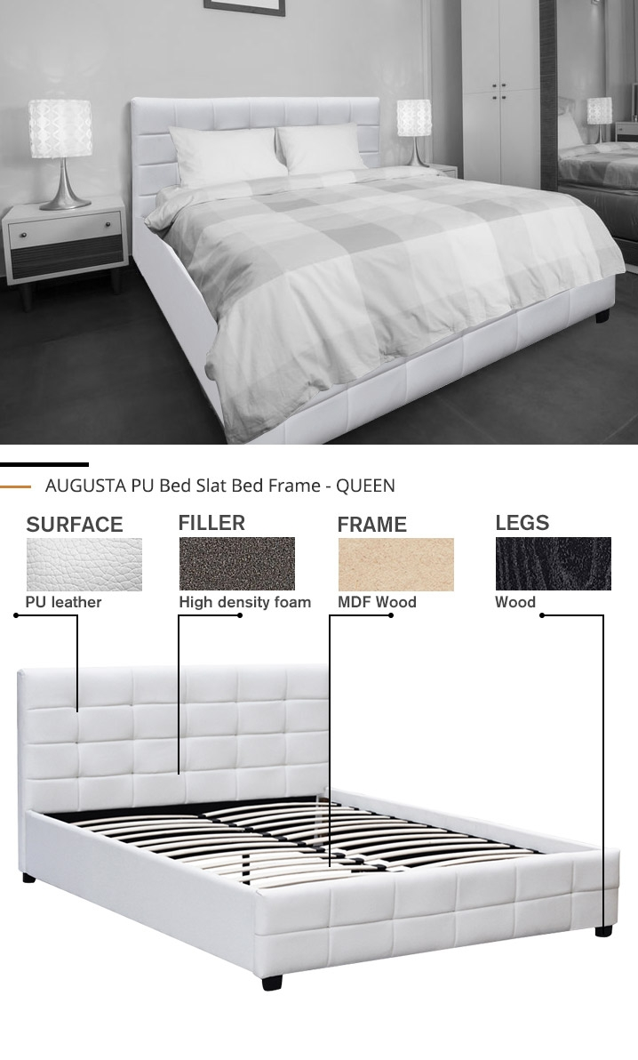 AUGUSTA PU Bed Slat Bed Frame Bed Base - QUEEN