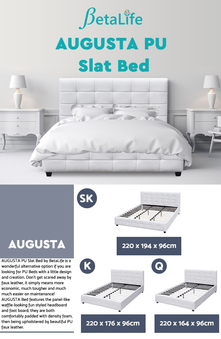 AUGUSTA PU Bed Slat Bed Frame Bed Base - SUPER KING