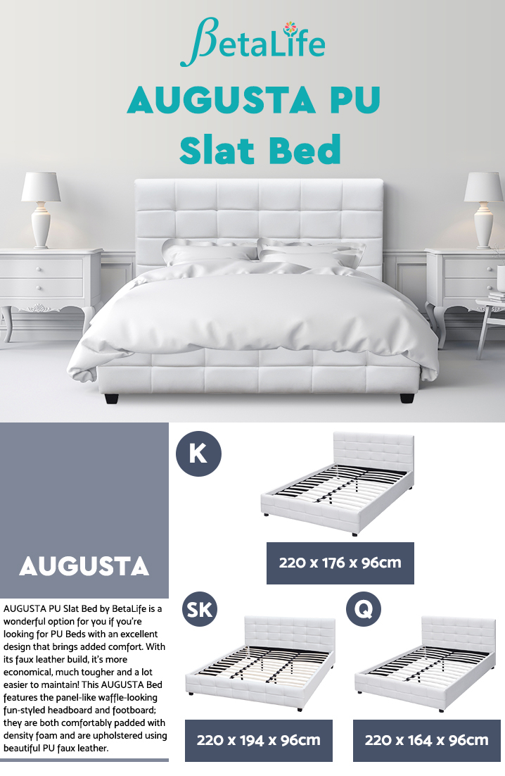 AUGUSTA PU Bed Slat Bed Frame Bed Base - KING