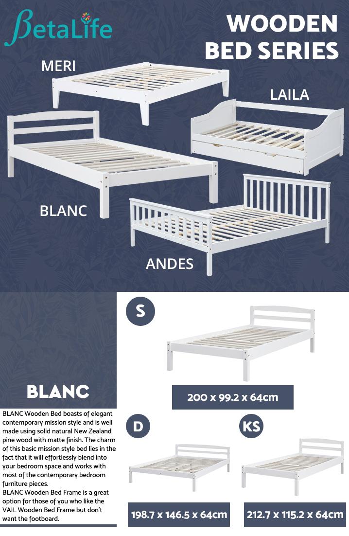 BLANC Wooden Slat Bed Frame Base - SINGLE