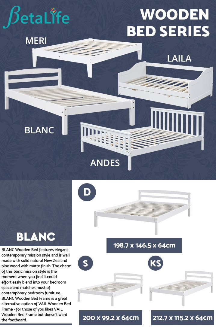 BLANC Wooden Slat Bed Frame Base - DOUBLE
