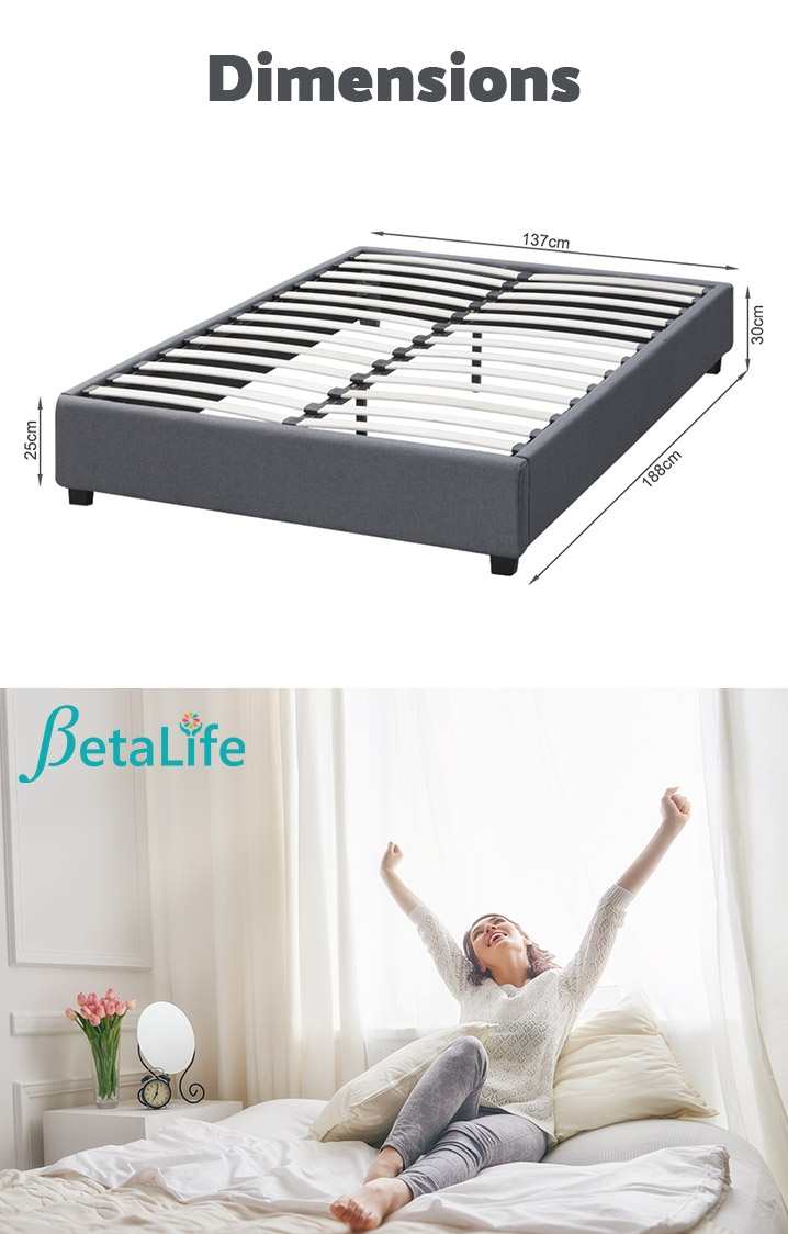BROMO Fabric Slat Bed Frame - DOUBLE Bed Base