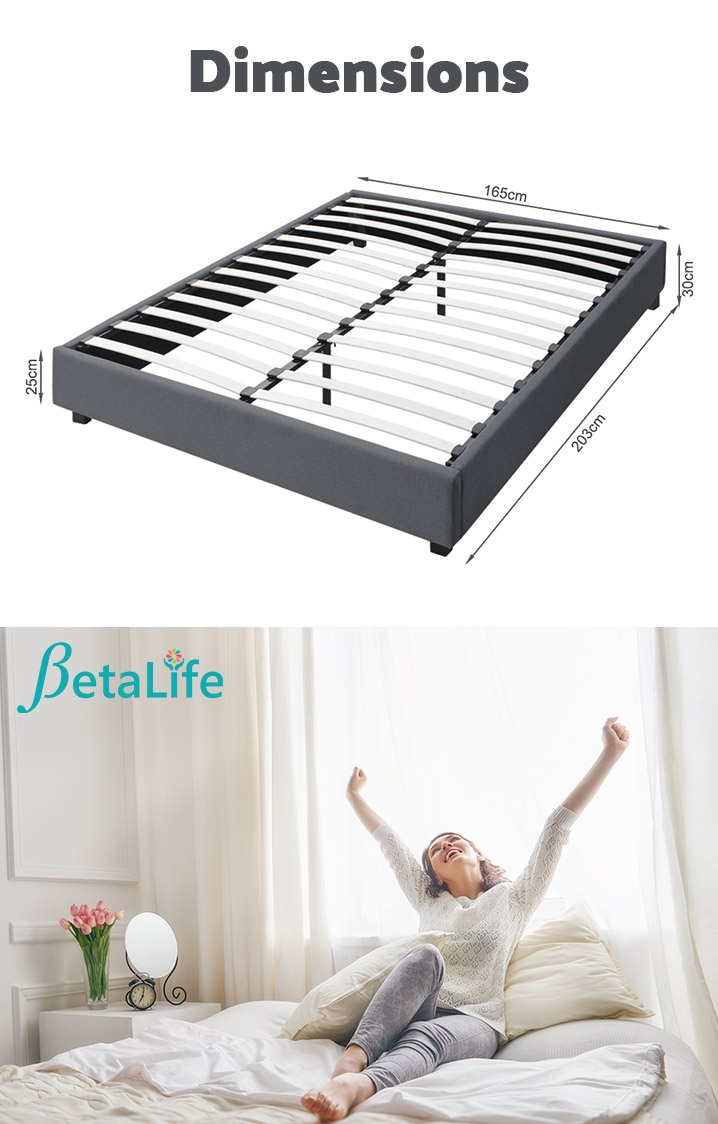 BROMO Fabric Slat Bed Frame - KING Bed Base