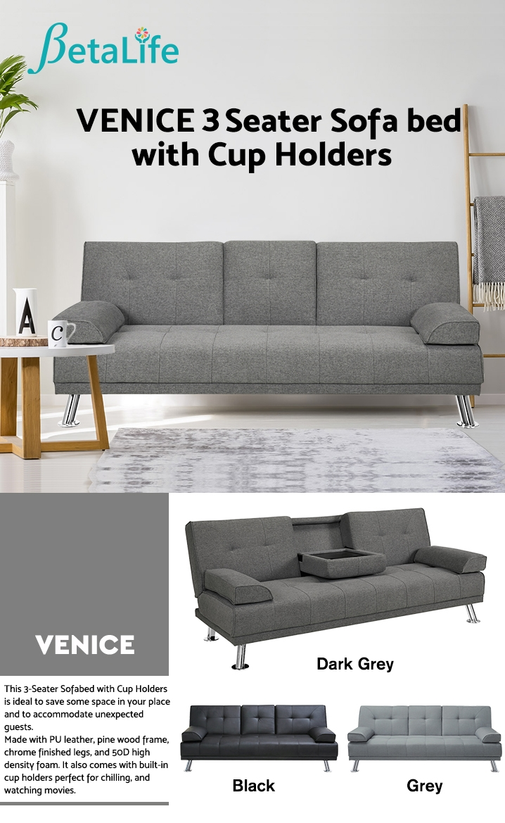 VENICE 3 Seater Sofa bed with Cup Holders - DARK GREY