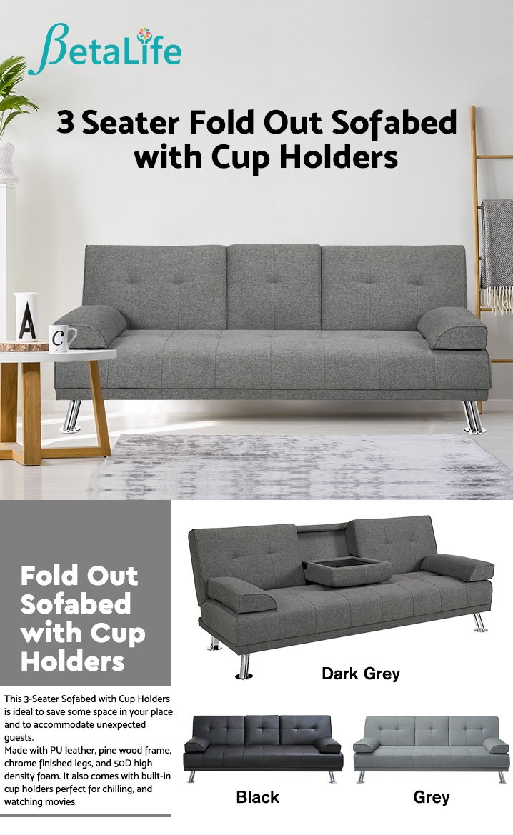3-Seater Fold Out Sofabed with Cup Holders DARK GREY