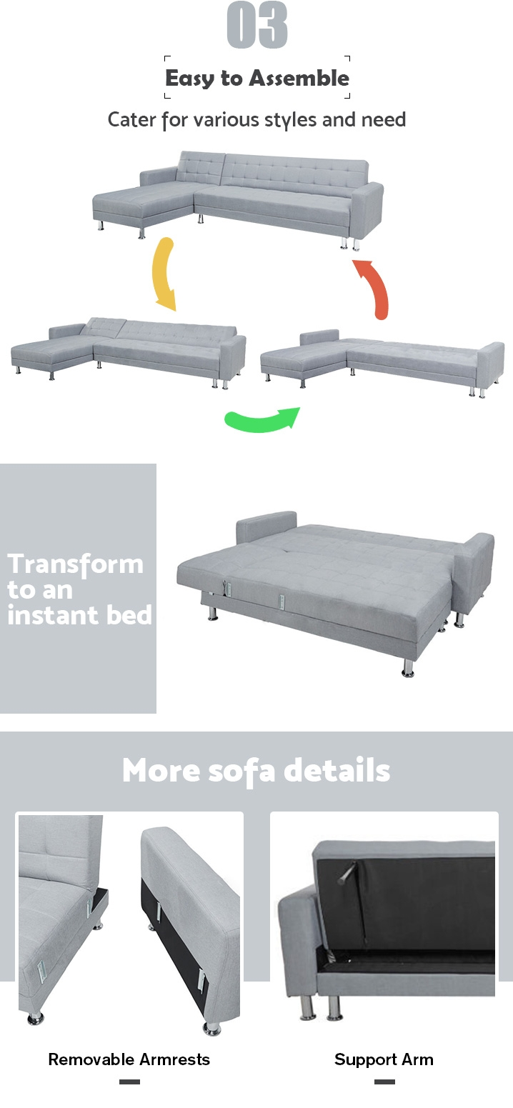 MINNESOTA Sofa Bed Futon with Chaise