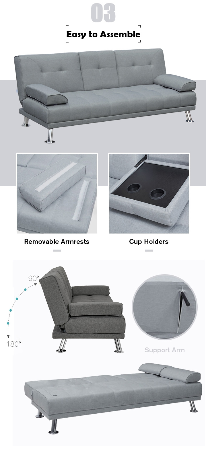 BetaLife Fold Out Sofabed with Cup Holders