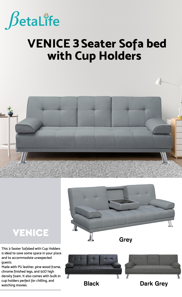 VENICE 3 Seater Sofa bed with Cup Holders - GREY