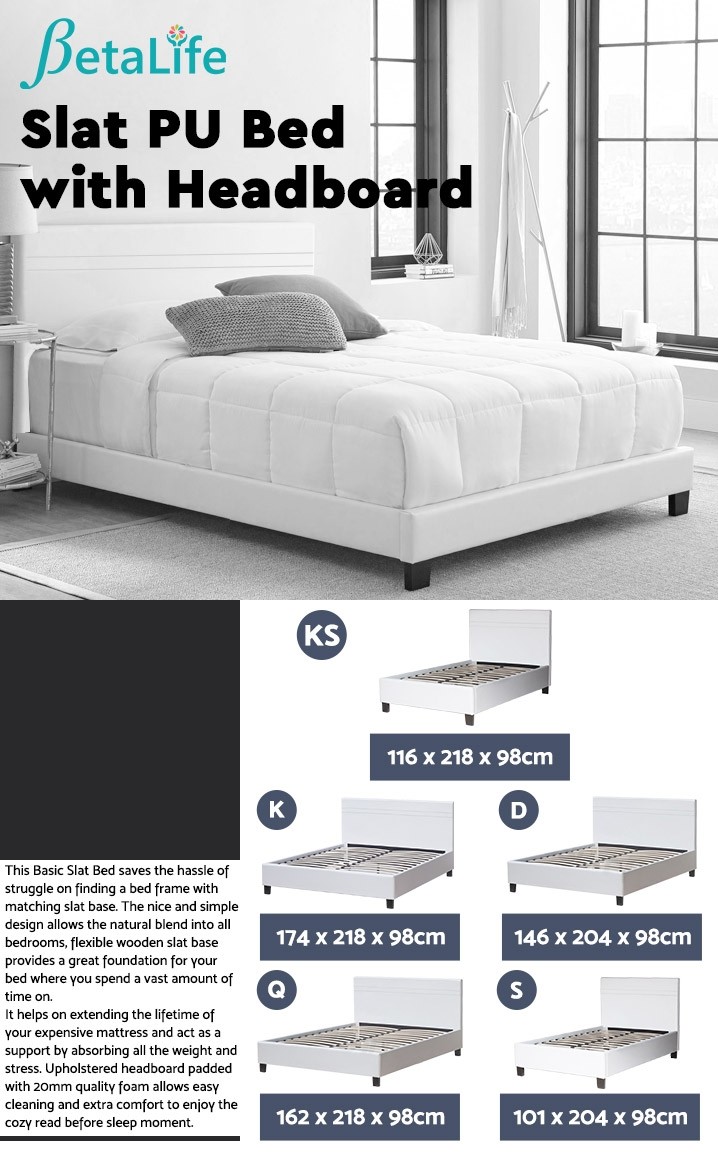 KING SINGLE Slat Bed with Headboard