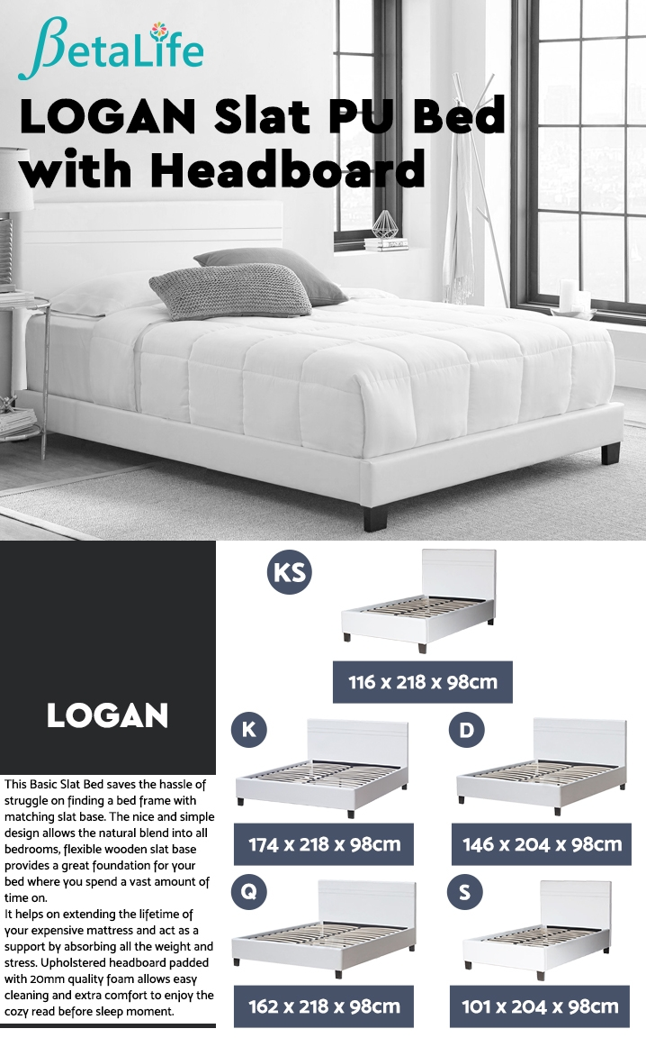 LOGAN KING SINGLE Slat PU Bed with Headboard