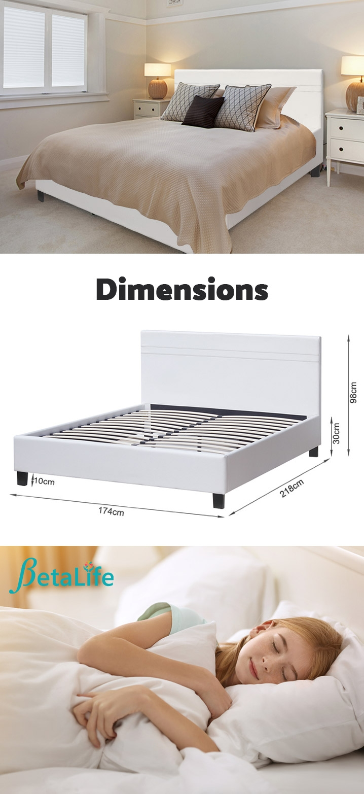KING Slat Bed with Headboard
