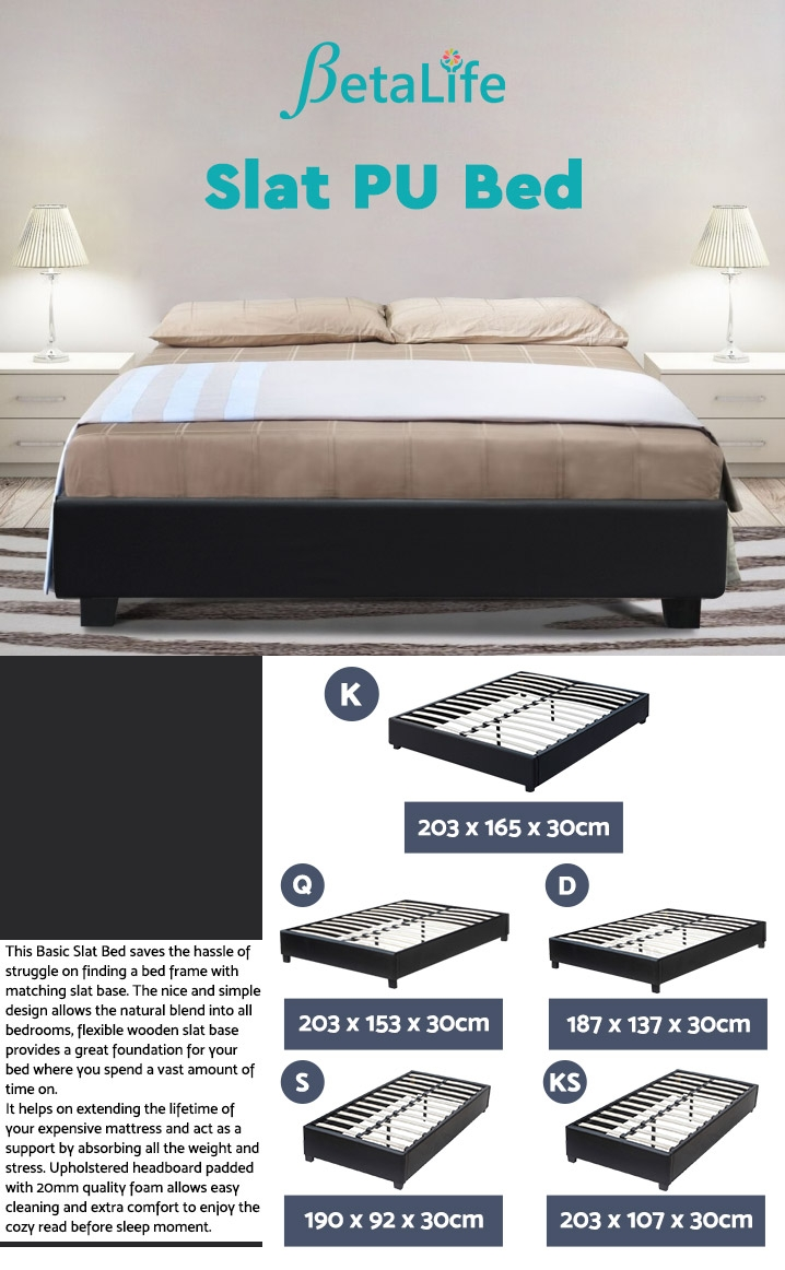 KING Slat Bed - BLACK