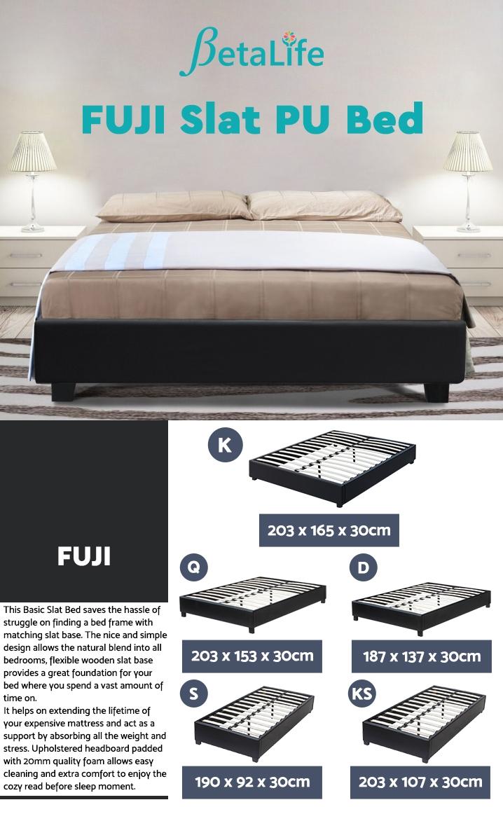 FUJI KING Slat PU Bed - BLACK