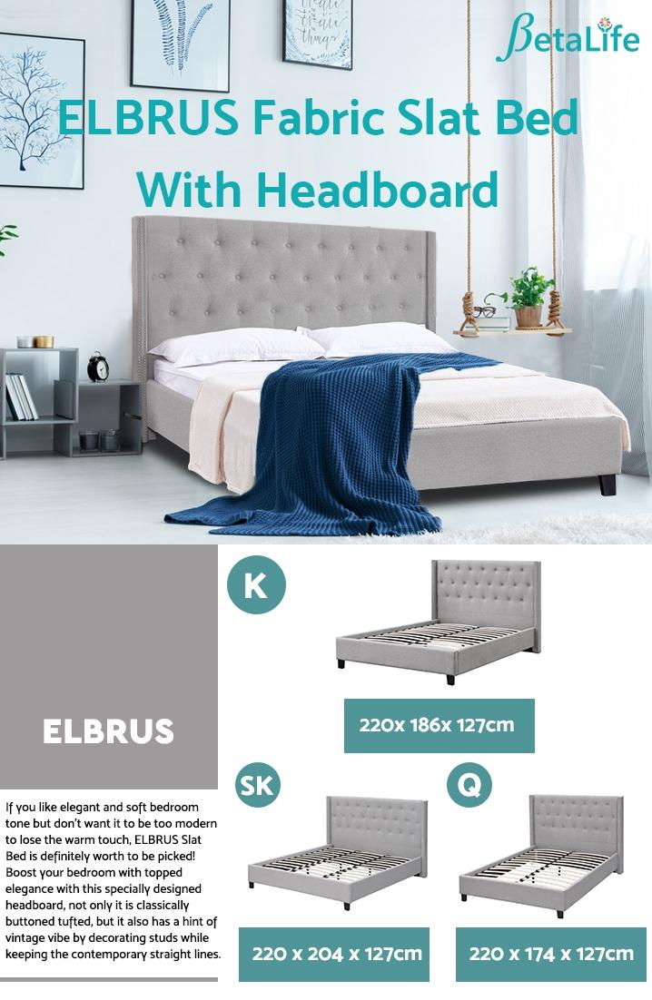 ELBRUS Fabric Slat Bed with Headboard - KING