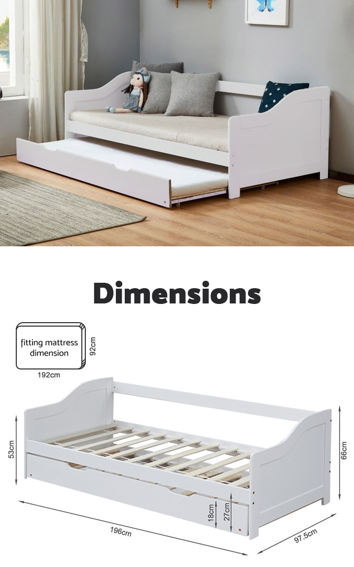 LAILA Single Wooden Trundle Bed - WHITE