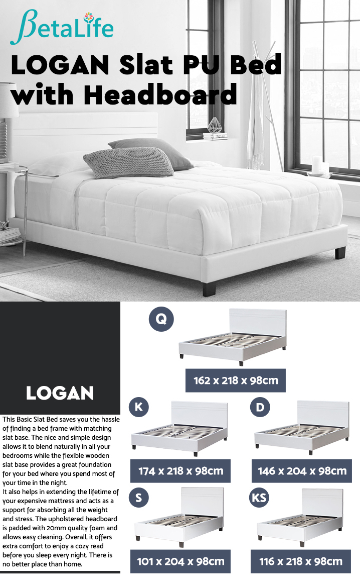 LOGAN QUEEN Slat PU Bed with Headboard - WHITE
