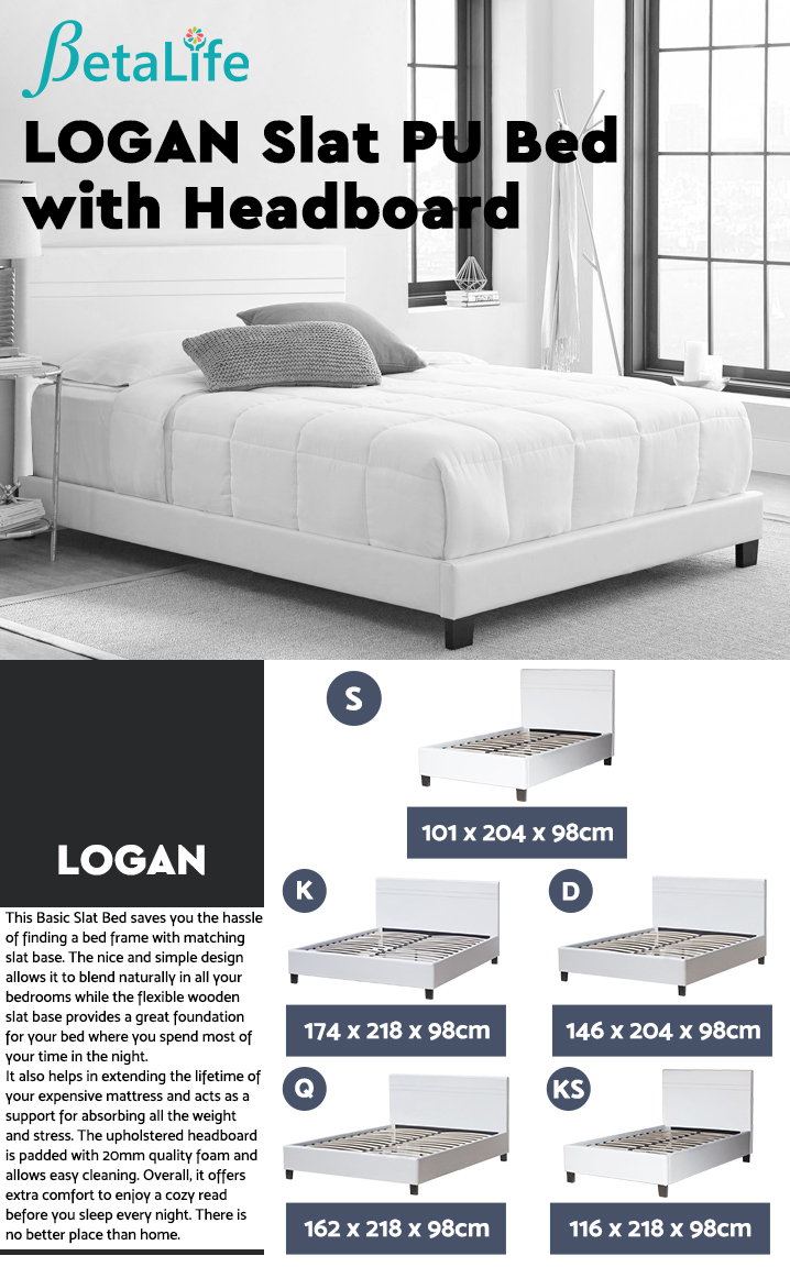 LOGAN SINGLE Slat PU Bed with Headboard - WHITE