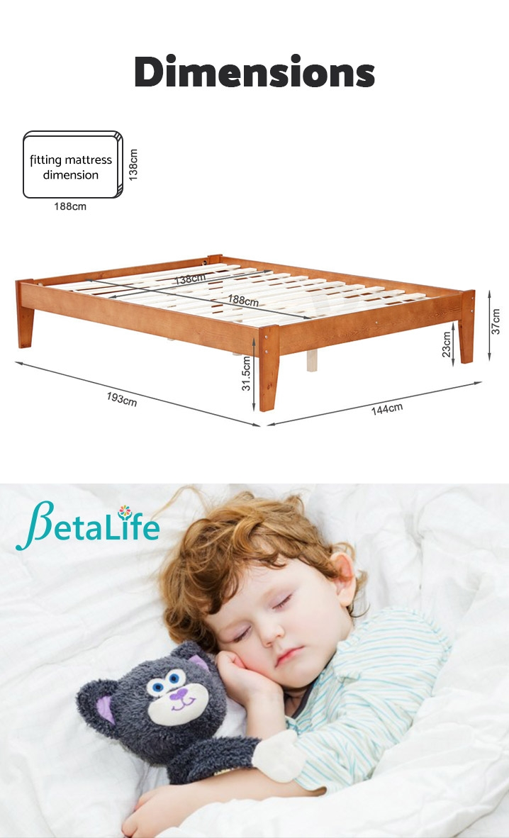 MERI Wooden Slat Bed Base - DOUBLE