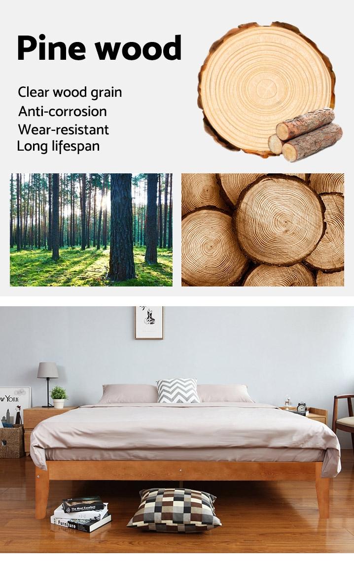 MERI Wooden Slat Bed Base - QUEEN